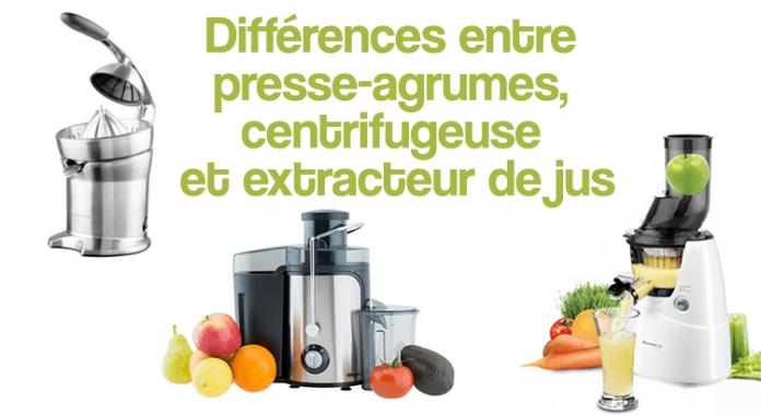 Différences entre presse-agrumes, centrifugeuse et extracteur de jus