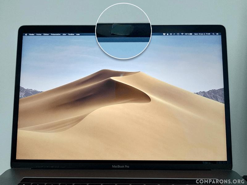 Utilisation d'un morceau de post-it pour cacher la webcam